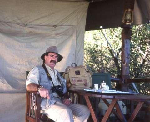 .Rafael Calvete, en una tienda del campamento en Moremi OK