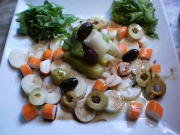 Ensalada de puerros y palmitos, receta