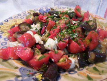 Ensalada de berenjenas asadas al romero, receta