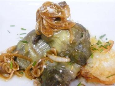Alcachofas en papillote con vinagreta de soja, receta