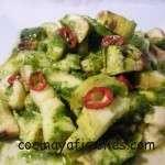 calabacin con salsa de perejil y menta