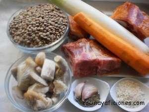 Ingredientes de lentejas con costillas