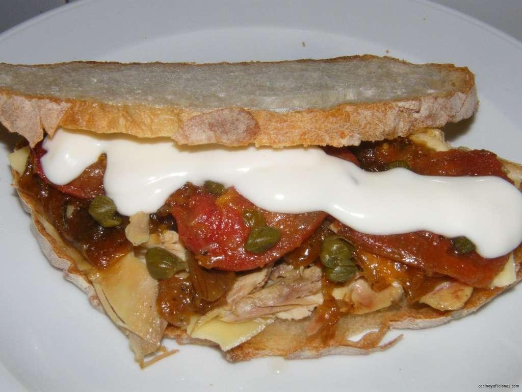 Bocata de pollo con hortalizas a la plancha,receta
