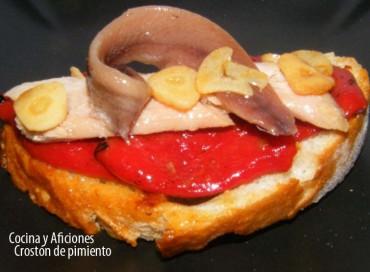 Crostón de pimiento, ventresca y anchoas, receta
