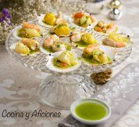 Zamburiñas y gambas a la plancha con vinagreta de perejil y sal de guindilla, receta
