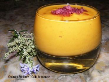 Coulis de tomate, aguacate y mango, receta
