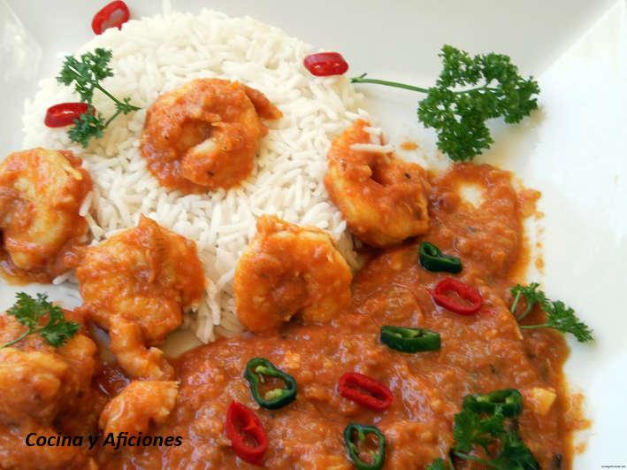 Curry Malabar de gambas, receta