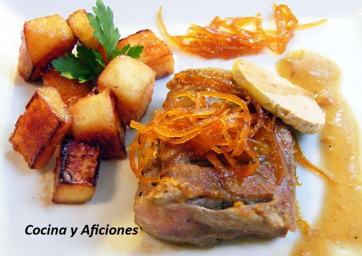 magret de pato con membrillo y juliana de naranja en almibar