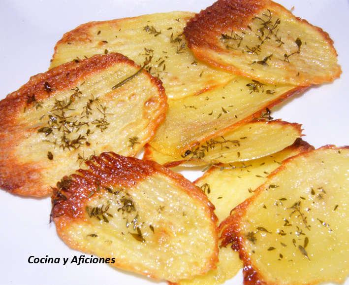 Patatas onduladas a las hierbas, receta