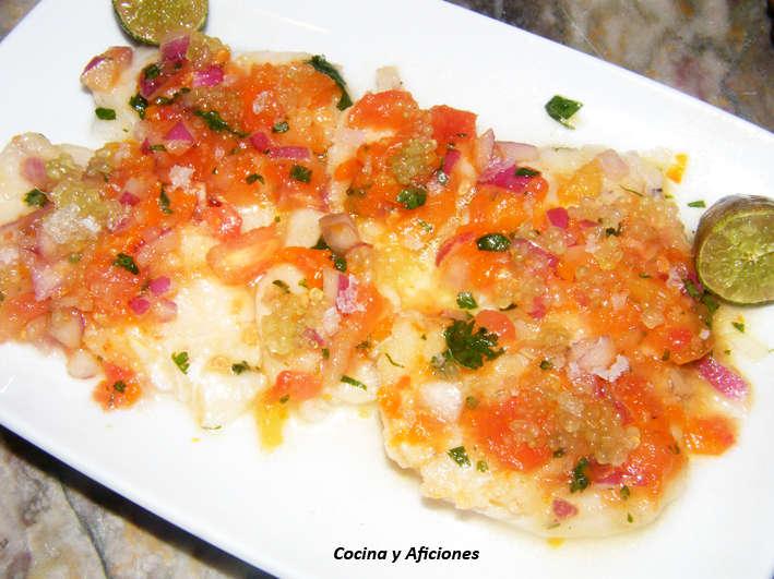 Tiradito de merluza con caviar cítrico, receta.