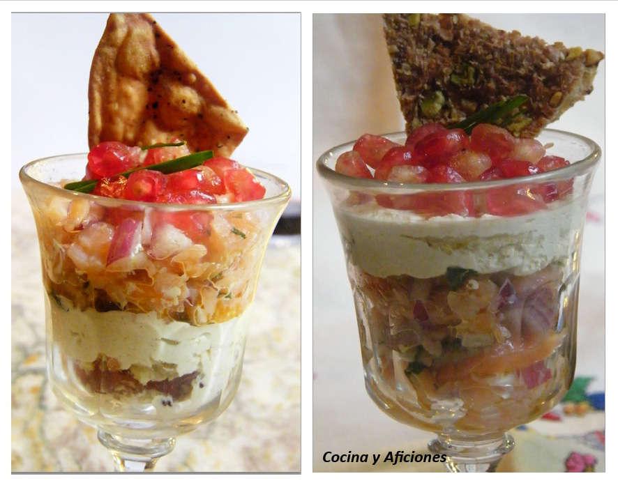 Copa de salmón a las hierbas frescas con nata de mostaza, receta