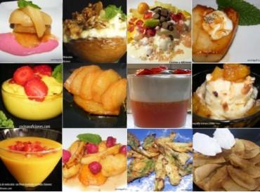 Doce postres con frutas y helados
