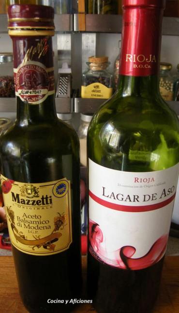 Bife de chorizo con vino tino y aceto
