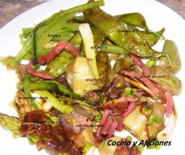 Revoltillo de verduras en texturas y vinagreta de soja, receta