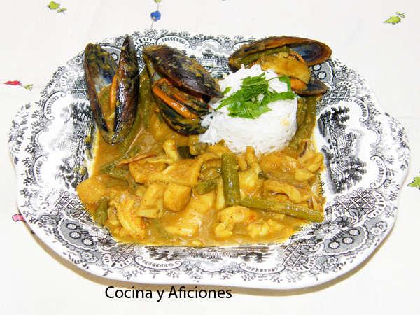 Curry amarillo (thai) de mariscos, receta tailandesa