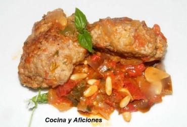 Filetes rusos con caponata siciliana, receta