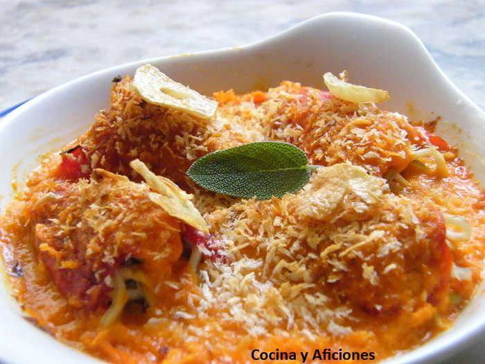 Pimientos rellenos de bacalao y gulas con su salsa, receta paso a paso
