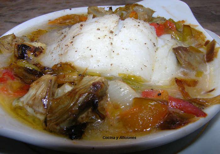 bacalao al plato con verduras