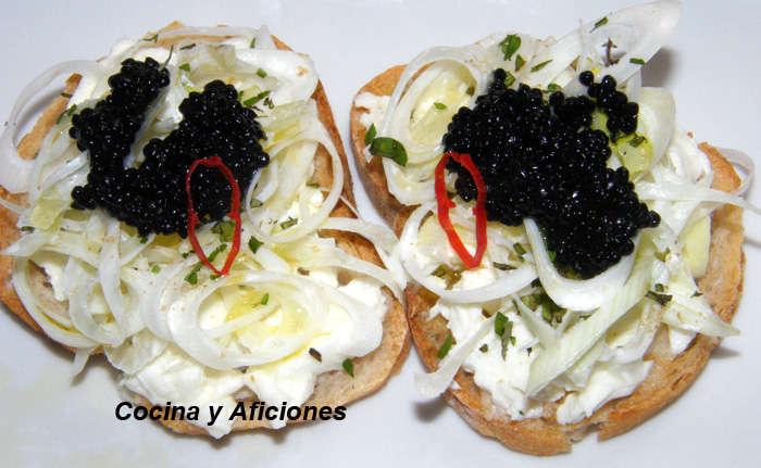 micro aperitivo de cebolleta y mujo 1l