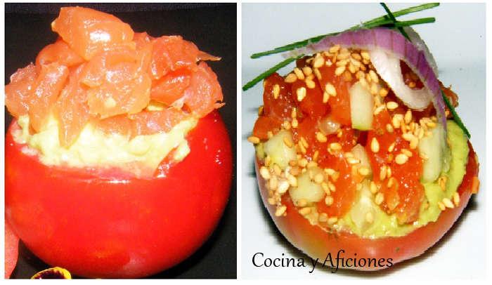 tomates rellenos de aguacate en dos versiones ok