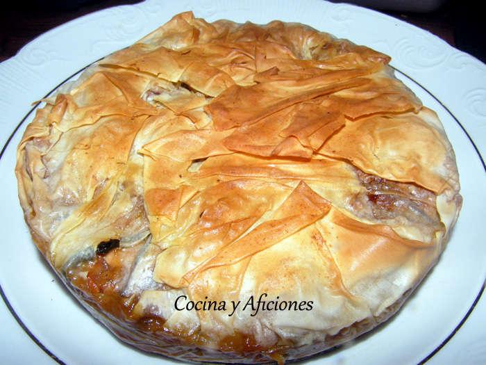 """Pastel o tarta"""" de picantón y verduras"""