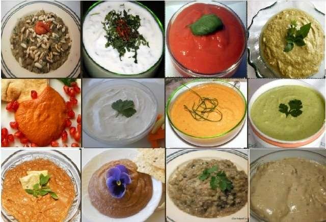 Doce pates o dips con verduras y hierbas, recetas