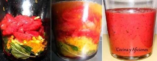 pasos para prepar el puré de fresas, menta y cítricos