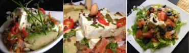 Ensalada de queso fresco con salmón en tres presentaciones, receta paso a paso