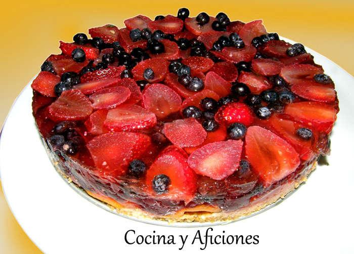 tarta de frutas con velo de limón