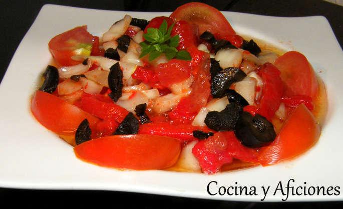 Ensalada de tomates y pimientos con truco, receta paso a paso