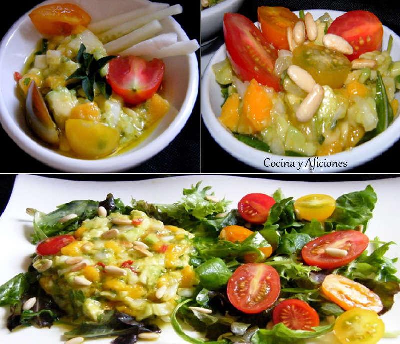 Ensalada de aguacate y mango en tres presentaciones, receta paso a paso