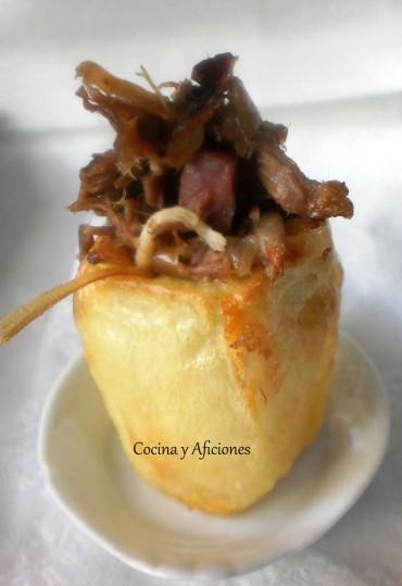 Pincho de patata rellena de ropa vieja, receta paso a paso.