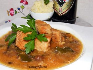 Estofado de cerdo con pimienta verde, cerveza checa y cuscús, receta paso a paso