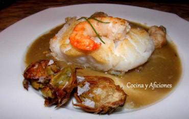 Bacalao Skrei con alcachofas fritas y en salsa de berberechos y gambas, receta paso a paso