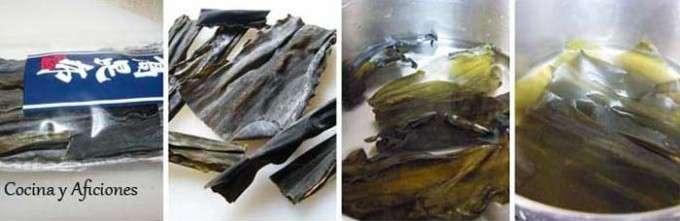 trabajando con el alga konbu
