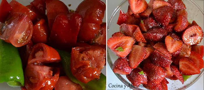 gazpacho con fresas marinado