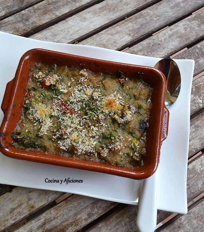 verduras y lentejas con costra de panko 111