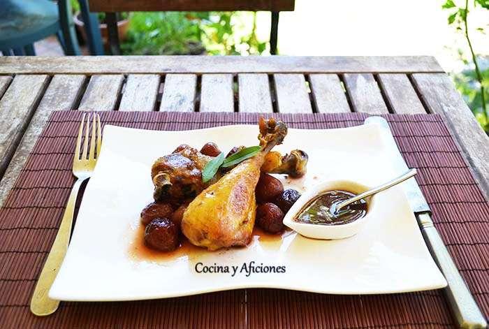 Pollo con cerezas, receta paso a paso.