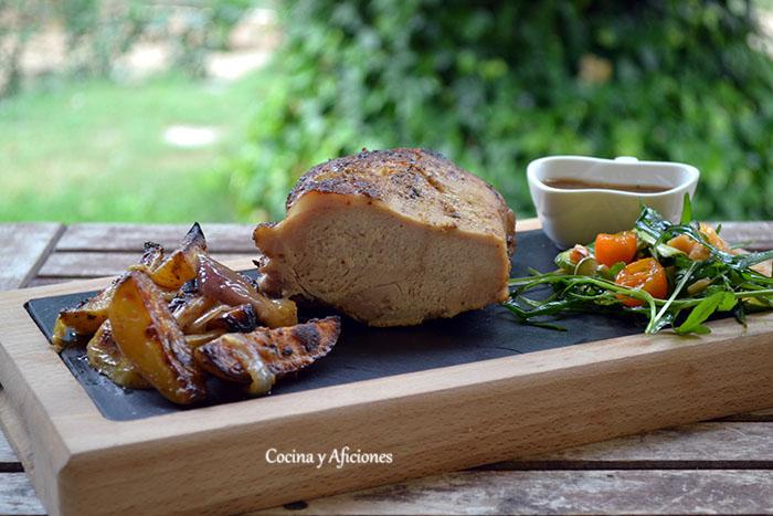 Lomo asado con gremolata y verduras -Gremolatamarineret Grillet bøf med grøntsager, receta danesa paso a paso.