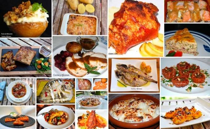 selección de platos cocinados en el horno
