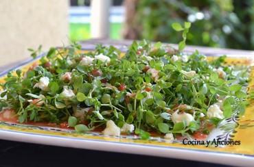Ensalada de hierbas (pamplinas) aliñadas, receta paso a paso.