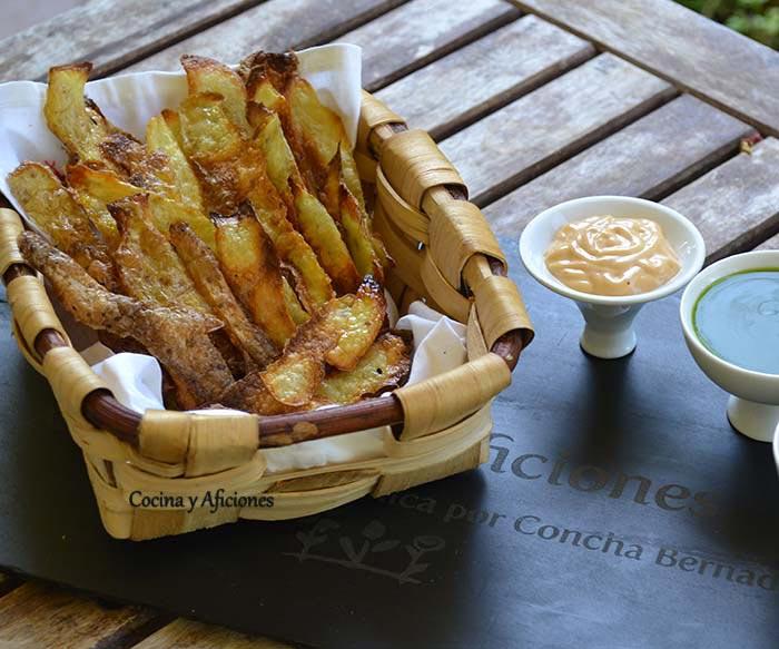Aperitivo o snack de monda de patata, receta paso a paso.