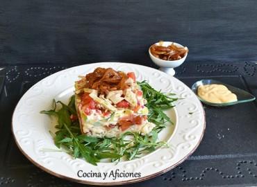Pastel en capas de vegetales y más, receta paso a paso.