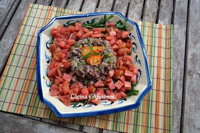 Ensalada o tartar de  sardinas de cubo (tú eliges), receta paso a paso.