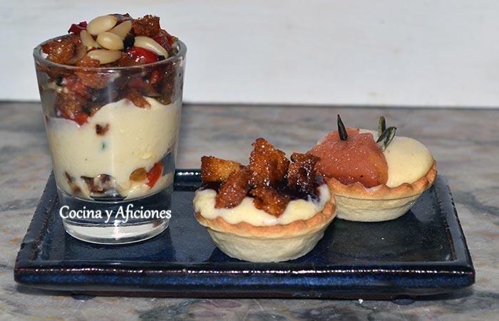 Aperitivos de crema de queso: tartaletas con membrillo y mermelada –  vasito con migas