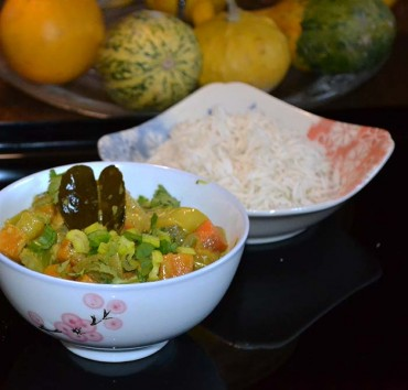 Curry verde  thai con verduras, receta paso a paso.