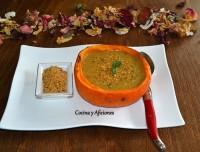 Crema verduras con dukkah, receta paso a paso.