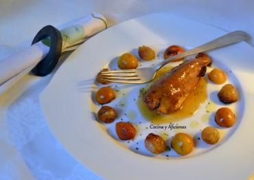 Conejo con cítricos ( limequats, kumquats, calamondín) y dátiles, receta paso a paso.