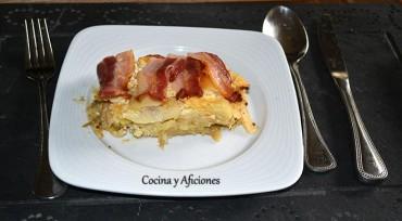 """Cod and bacon, cake (Pastel de bacalao y bacon), receta irlandesa para """"Cocinas del Mundo"""" paso a paso."""