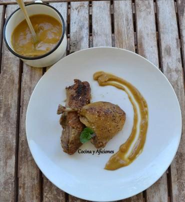 Pato asado con manzanas, dátiles y citrícos, receta pasa a paso.